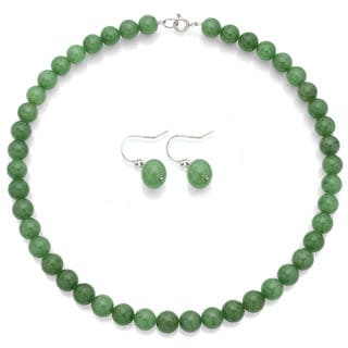 DaVonna Sterling Silver Green Aventurine Necklace Earring Jewelry Set