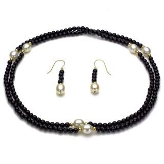 DaVonna 14k Yellow Gold Black Onyx Beads and White Pearls Jewelry Set