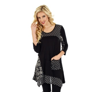 Firmiana Womans 3/4 Sleeve Top with Polka Dot and Floral Pattern, Black and Blue or Black and White Available