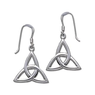 CGC Sterling Silver Celtic Trinity Knot Triquetra Dangle Earrings