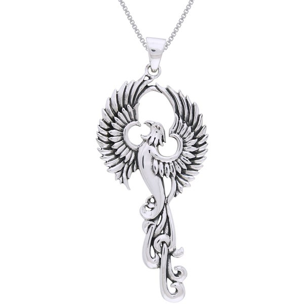 CGC Sterling Silver Rising Phoenix Fire Bird Necklace