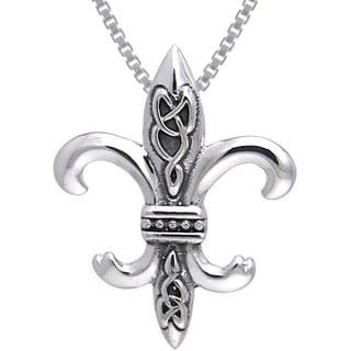 Carolina Glamour Collection Sterling Silver Celtic Knots Fleur De Lis Necklace