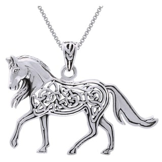 CGC Sterling Silver Horse with Celtic Knot Work Design Necklace