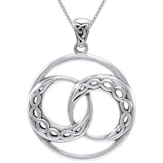 CGC Sterling Silver Double Celtic Infinity Knot Crescent Moon Necklace