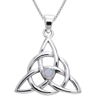 Carolina Glamour Collection Sterling Silver and Moonstone Celtic Triquetra Necklace