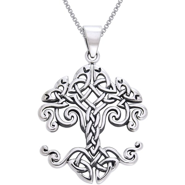 CGC Sterling Silver Celtic Knot Work Tree of Life Necklace