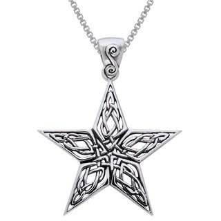 Carolina Glamour Collection Sterling Silver Celtic Knot Work Star Necklace