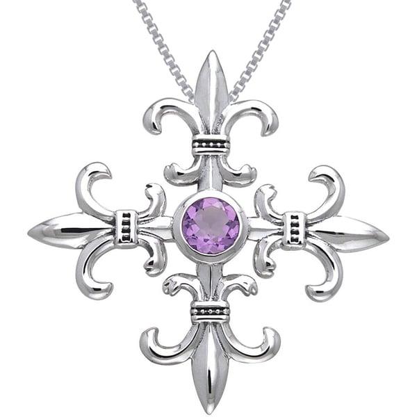 CGC Sterling Silver and Amethyst Croix La Mere Fleur de Lis Necklace