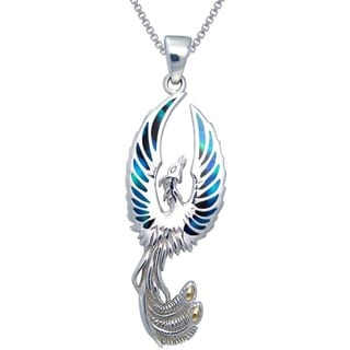 Carolina Glamour Collection Sterling Silver Flying Phoenix Fire Bird Paua Shell Wings Necklace