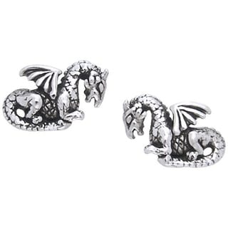CGC Sterling Silver Petite Winged Dragon Post Earrings