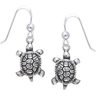 CGC Sterling Silver Diamondback Turtle Dangle Earrings