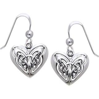 CGC Sterling Silver Celtic Eternal Love Heart Knot Work Dangle Earrings