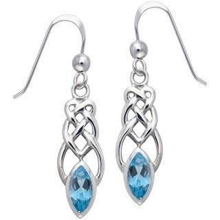 CGC Sterling Silver Blue Topaz Celtic Linear Knot Work Dangle Earrings