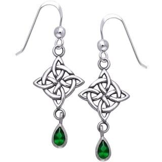 Sterling Silver Gemstone Celtic Luck Knot Work Dangle Earrings