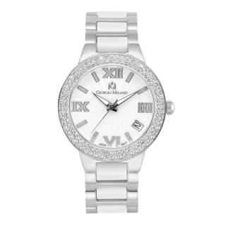 Giorgio Milano Women's Luxury Stainless Steel Watch with Ceramic Parts and Swarovski Crystals