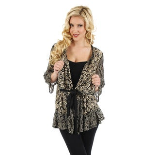 Women's 3/4 Sleeve Black and Gold Open Front Cardigan Missy Fit