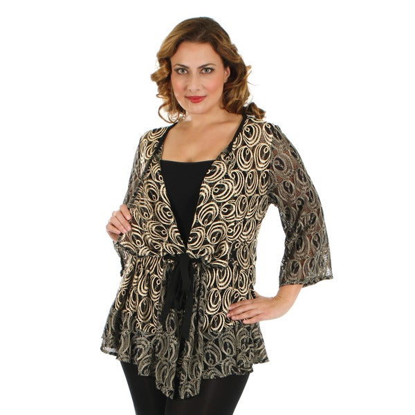 Firmiana Women's Plus Size 3/4 Sleeve Black and Gold Open Front Cardigan