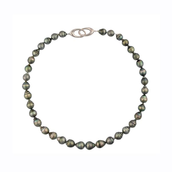 Sterling Silver Tahitian Pearl Oval Trigger Clasp Strand Necklace (8-10mm)