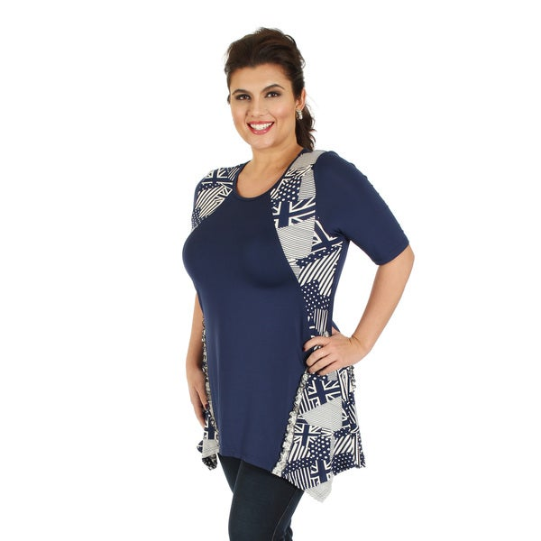 Firmiana Women's Plus Size Elbow Length Sleeve Blue Multi Color Top with Side Tail