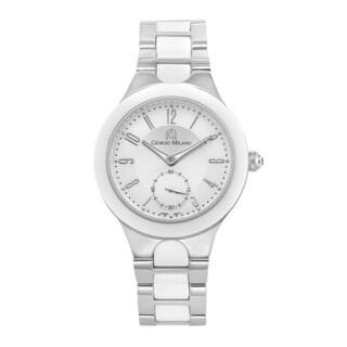 Giorgio Milano Stainless Steel and White Ceramic Watch with Swarovski Crystal Crown