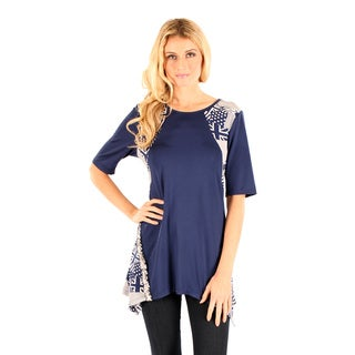 Firmiana Women's Elbow Length Sleeve Blue Multi Color Top with Side Tail Missy Fit