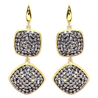 14k Gold over Sterling Silver Black Crystal Square and Diamond Shape Drop Earrings