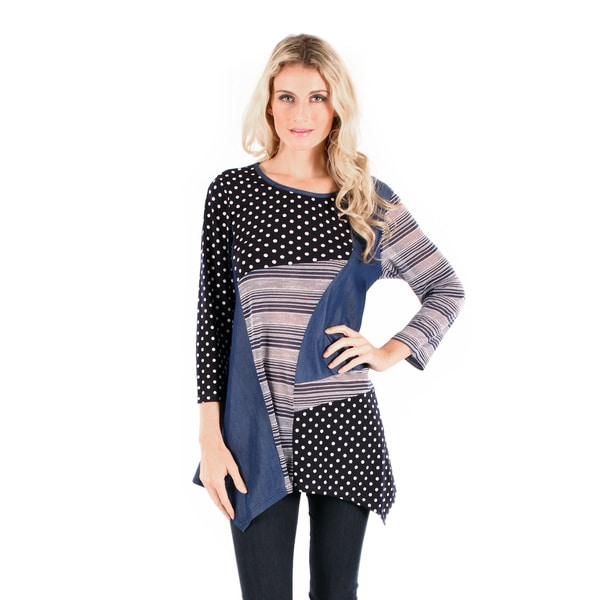 Firmiana Women's 3/4 Sleeve Blue Multi Color Top with Side Tail