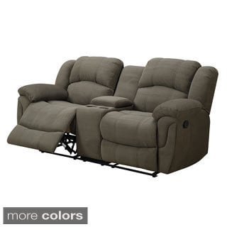 Padded Microfiber Motion Loveseat with Console