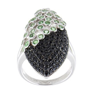 Sterling Silver Tsavorite and Black Spinel Elongated Ring