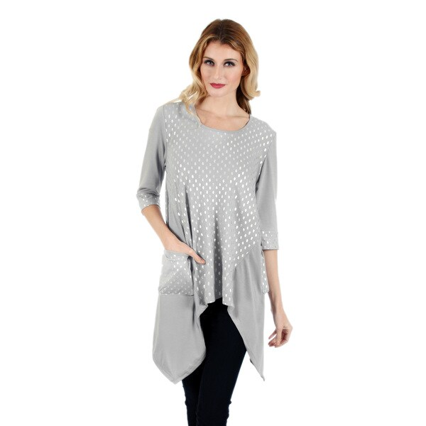 Firmiana Women's Grey 3/4-sleeve Sidetail Top