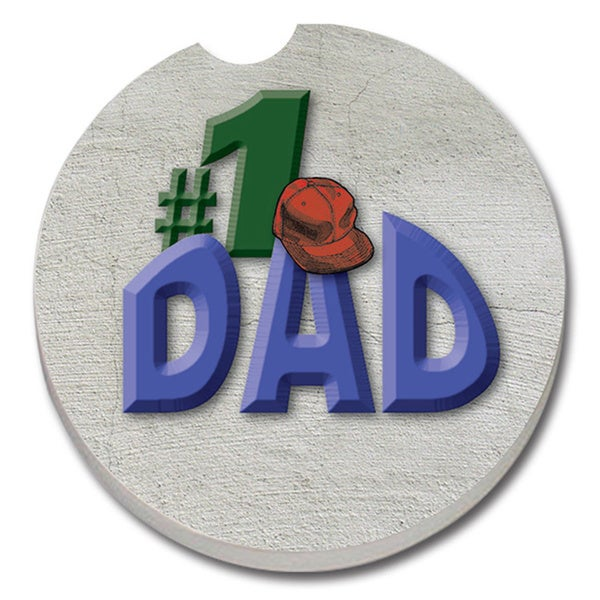 #1 Dad Absorbent Stone Car Coaster (Set of 2)