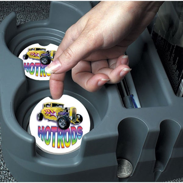 Hot Rods Absorbent Stone Car Coaster (Set of 2)