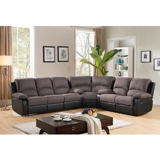 Malibu Two-tone Fabric Reclining Sectional