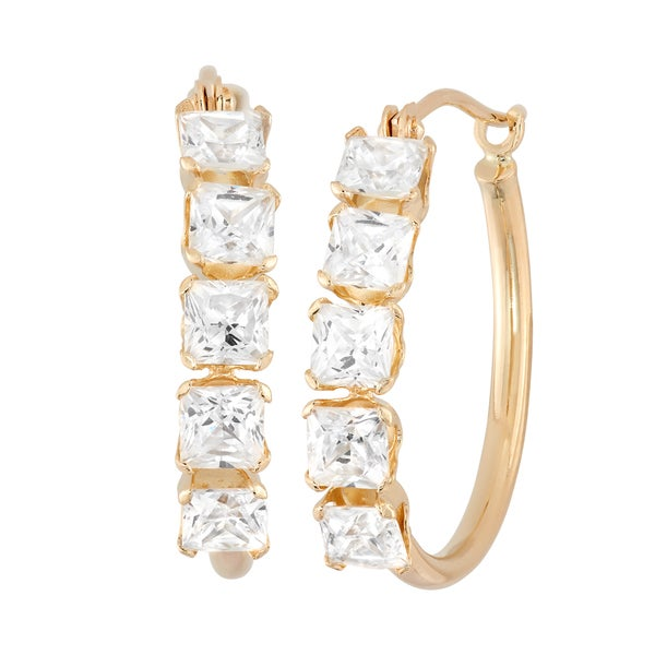 14K Yellow Gold 3mm Princess Cut Cubic Zirconia Hoop Earrings