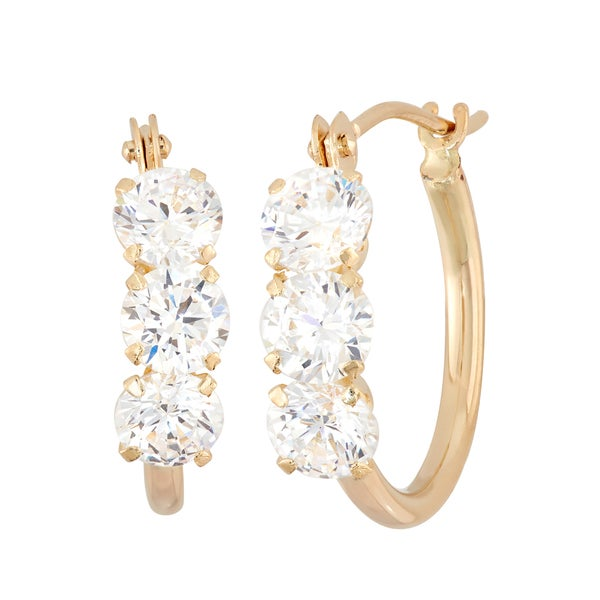 14K Yellow Gold 4mm Round-cut Cubic Zirconia Hoop Earrings