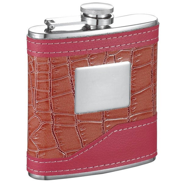 Visol Selene Pink Crocodile Pattern 6-ounce Liquor Flask 15214259
