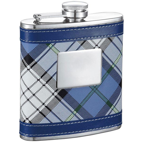 Visol April Blue Plaid 6-ounce Liquor Flask