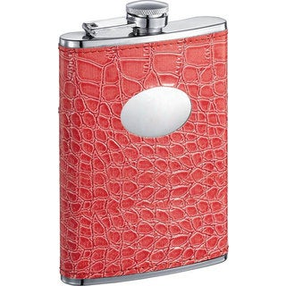Visol Sweety Coral Crocodile Pattern 8-ounce Liquor Flask
