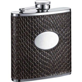 Visol Turus Dark Brown Lizard Print 6-ounce Liquor Flask