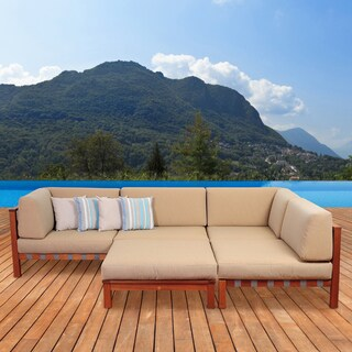 Amazonia Montgomery Deluxe 5-piece Eucalyptus Sectional Set with Khaki Cushions by Jamie Durie