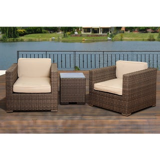 Atlantic Modena 3-Piece Grey Wicker Seating Set with Off-White Cushions