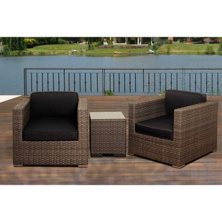 Atlantic Modena 3-Piece Grey Wicker Seating Set with Grey Cushions