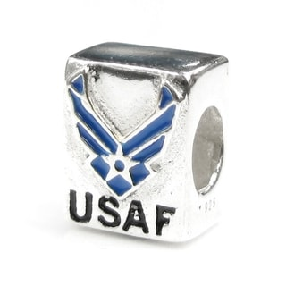 Queenberry Sterling Silver Partiotic USAF Air Force European Bead Charm