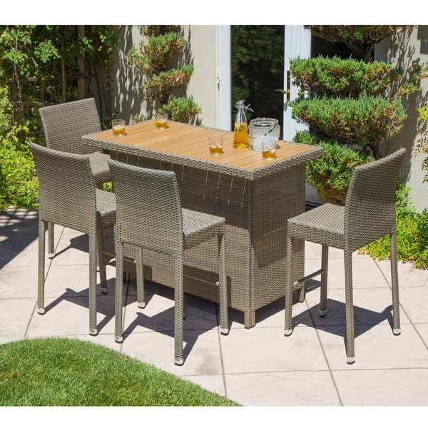 Corvus Ashena 5-piece Outdoor Bar Table and Stool Set