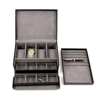 Bey Berk 'Henry' Leather Multi-Compartment Watch and Jewelry Box
