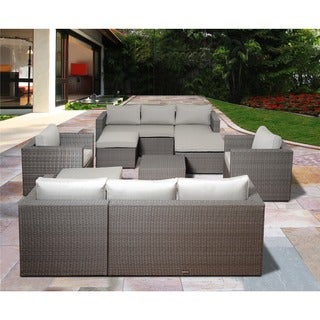 Atlantic Pescara 8-piece Grey Synthetic Wicker Sectional Set with SUNBRELLA Grey Cushions
