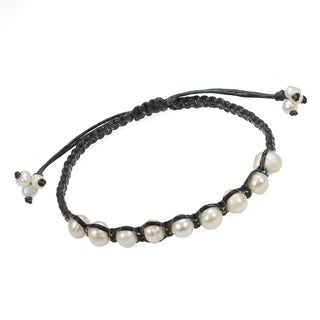 Pearly White Oval Freshwater Pearls Cotton Bracelet (Thailand)
