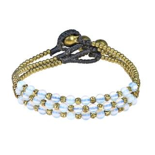Set of 3 Moonstone Bead Link Brass Jingle Bracelet (Thailand)