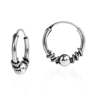 Twist Bali Bead 14mm Hoop .925 Silver Earrings (Thailand)