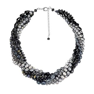 Twilight Intertwined Pearl and Crystal Multistrand Necklace (Thailand)